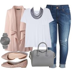 Blush and Gray- Plus Size Outfit by boswell0617 on Polyvore featuring Lands' End, Caslon, Melissa McCarthy Seven7, American Eagle Outfitters, Givenchy, BOSS Black, Humble Chic and plus size clothing