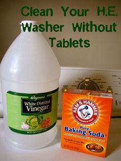 Clean your high-efficiency washing machine without tablets.  Also a great tip with tea tree oil for getting that stinky smell out of the clean clothes