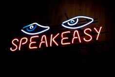 'Speak Easy' neon sign - Photography by brian blevins, via Flickr