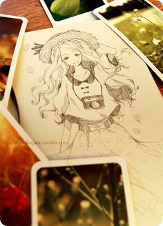 Today's sketch is inspired by my little tin of mini-postcards that remind me of polaroids ^q^
