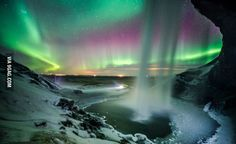 Seljalandsfoss in south Iceland bathing in Northern Lights 20 Feb 2015 so much aurora activity that night, Shot with Sony with Zeiss Distagon Aurora Borealis, Places To Travel, Places To See, Iceland Photos, Photography Tours, Nature Photography, Winter Photos, Natural Phenomena, Beautiful World