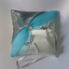 Coussin alliances gris et turquoise