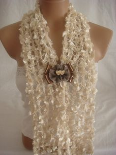 Hand knitted cream elegant scarf with lovely $15.90