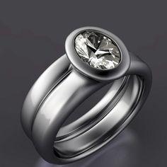 Bridal Ring Set Oval Moissanite Bezel by NodeformWeddings on Etsy, $975.00