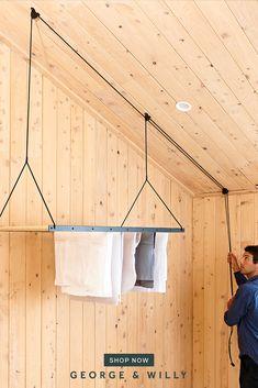 Hanging Drying Rack, Laundry Room Inspiration, Laundry Room Design, Home Reno, Diy Home Decor, Bedroom Decor, New Homes, House Design, Design Design