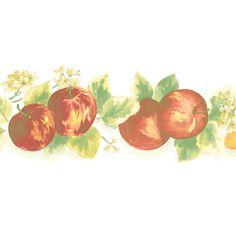"""Fresh Kitchens V 15' x 5"""" Lemon Apple Border Wallpaper"""