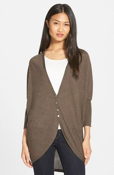Eileen Fisher Oval Cut Merino Wool Cardigan