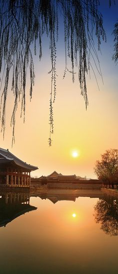 경복궁, Royal Palace, South Korea, sunset