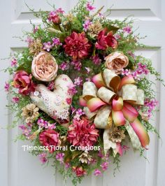 Shabby and chic Mother's Day wreath http://www.timelessfloralcreations.com/ https://www.facebook.com/timelesswreaths