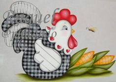 Galinha Tole Painting, Fabric Painting, Painting On Wood, Chicken Crafts, Chicken Art, Donna Dewberry Painting, Free Hand Designs, Chicken Quilt, Chicken Pattern