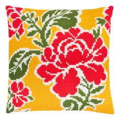 """Add a splash of designer color to your decor! A very on trend designed cushion front, printed on cotton canvas ready for completion with the supplied thick acrylic yarn.   Finished size: 16x16"""" / 40x40 cm  Each set contains:  * full color printed canvas (20 holes/10cm, 6 stitches/inch, 100% cotton, Zweigart) * acrylic yarns * stitching technique: cross stitch * clear working instructions in English * a suitable needle  Please notice: this is a needlepoint kit, cushion pads are not in Cross Stitch Fruit, Cross Stitch Tree, Cross Stitch Patterns, Needlepoint Pillows, Needlepoint Kits, Cute Kittens, Throw Pillow Cases, Throw Pillows, Cross Stitch Cushion"""