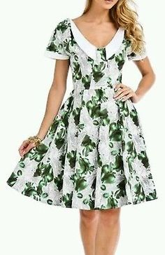 NWT $125-HEARTS & ROSES Rockabilly Green Pear Dress Pin up Zooey Deschanel Sz 12 in Clothing, Shoes & Accessories, Women's Clothing, Dresses | eBay
