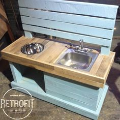 RetroFit Custom Design Kids Mud Kitchen is perfect for outside play. Each Mud Kitchen is one of a kind because we use reclaimed/recycled