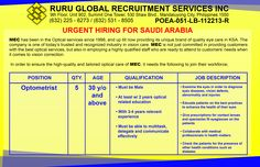 Urgent Hiring for Saudi Arabia Optometrist 30 years old and above Must be male At least with 2 years optical related education With 3-4 years relevant experience Must be able to multitask, delegate and communicate effectively http://www.rururecruitment.com/blog/hiring-saudi-arabia/urgent-hiring-for-saudi-arabia-opthalmologist/