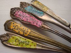 LOVE THIS!!!!  Plant Garden Markers made from vintage forks & spoons (archival ink & varnished)