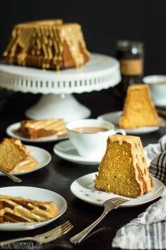 Earl grey bundt cake with milk and honey glaze.