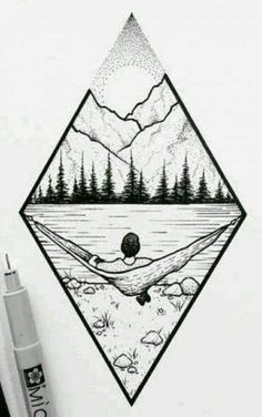 Mountain landscape # Art # Forest # - Norma D. Landscape Drawings, Landscape Art, Landscape Design, Forest Landscape, Cool Drawings, Drawing Sketches, Drawing Ideas, Tumblr Art Drawings, Tattoo Sketches