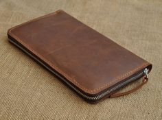 Genuine Long  Leather wallet with lagre zipper-Men wallet--Brown Leather purce-Instrument package -Passport Holder-2013. $69.00, via Etsy.