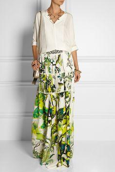 Roberto Cavalli|Paneled printed silk-satin maxi skirt|NET-A-PORTER.COM