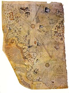 In a group of historians found an amazing map drawn on a gazelle skin. The map shows the western coast of Africa, the eastern coast of South America, and the northern coast of Antarctica. The northern coastline of Antarctica is perfectly detailed. Old Maps, Antique Maps, Vintage World Maps, Ancient Aliens, Ancient History, Piri Reis Map, Map Globe, Ancient Artifacts, Ancient Map