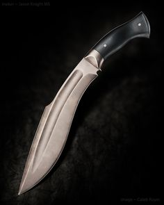 "Jason Knight Combat Kukri. 11"" blade. OAL 16.5"" Black micarta handle."