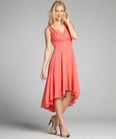Suzi Chin coral chiffon pleated high-low tank dress