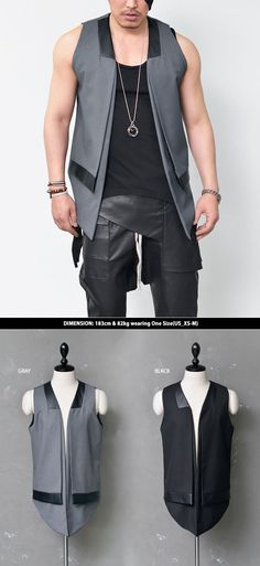 Outerwear :: Leather Trim Double-Layer Sharp Cut-Vest 103 - Mens Fashion Clothing For An Attractive Guy Look