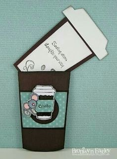 you could make cute one's along this idea.like cupcake happy birthday cards t. - you could make cute one's along this idea….like cupcake happy birthday cards that slide up out - Cute Cards, Diy Cards, Your Cards, Mini Album Scrapbook, Scrapbook Cards, Pochette Photo, Tarjetas Diy, Coffee Cards, Coffee Gifts