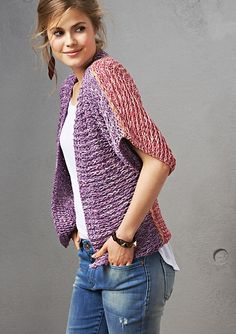 Knit flat in 3 parts, requiring seaming. Knit sideways starting from the sleeve, with additional stitches knit on.