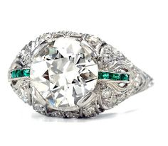 vintage engagement ring - $24650 - 2.53cts, J-K color, VS2 clarity, platinum with emeralds