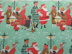 """Retro Christmas Gift Wrap...love the plaid suit and that the folks aren't """"air brushed""""."""