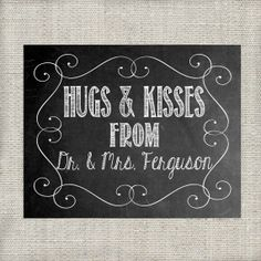 Hugs & Kisses  Personalized Thank You Wedding by LoveandPrint, $4.00
