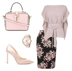 """Classy Nude Floral Skirt Set (#70)"" by nazanin-mk ❤ liked on Polyvore featuring Dolce&Gabbana, Jonathan Saunders, TIBI, Ted Baker and Jimmy Choo"