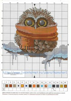 Baby Owl in a Scarf Cross Stitch Pattern Cross Stitch Owl, Cross Stitch Animals, Counted Cross Stitch Patterns, Cross Stitch Charts, Cross Stitch Designs, Cross Stitching, Cross Stitch Embroidery, Embroidery Patterns, Theme Noel
