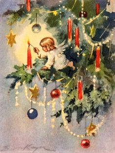 Erica Von Kager - Vintage Christmas Angel Lights Candle Brownie Card 40s