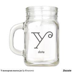 Y monogram mason jar