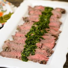 Chimichurri Skirt Steak made with fresh herbs from the garden; parsley, cilantro, oregano, rosemary, and thyme. #SundaySupper #ChooseDreams