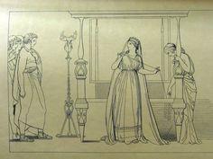 """Penelope sorpresa al telaio """"...noi. da un'ancellanon ignara instrutti,Penelope trovammo, che la bella disciogliea tela ingannatrice..."""" ( libro II, 141-143)"""