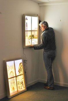 8. Окно-светильник дизайн интерьера, идеи, окна, пейзаж, пространство, ремонт