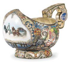 A Fabergé silver-gilt and enamel pictorial kovsh, workmaster Feodor Rückert, Moscow, 1908-1917.
