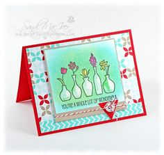 Vivid Vases the White Crayon Resist Technique by SandiMac - Cards and Paper Crafts at Splitcoaststampers