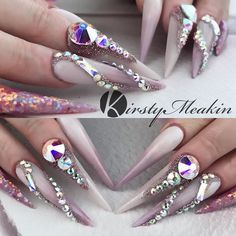 These are the famous mauve nails. Iv filled them and added bling what do you think? .... Kirsty Meakin #nailart #nailsart #nailsonfleek #stilletonails #mauvenails #mauveeverything #blingblingnails #hotrightnow #famous @kirstymeakin @nailsmagazine @nailpromagazine @kimthatnailgirl @beyonce @nails4today @missguided @topshop #thatnailgirl