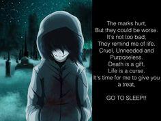 I just randomly wrote this poem thingy and it represented Jeff so much... I love creepypasta