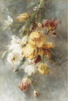 A swag of tulips, Margaretha Roosenboom-Vogel. Dutch (1843 - 1896)