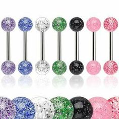7 lot Glitter UV Ball Tongue or Nipple Rings / Barbells Body Jewelry. We're simply affordable with high quality body piercing jewelry for everyone worldwide. Tongue Piercing Bars, Tongue Piercing Jewelry, Tongue Bars, Tongue Rings, Tongue Piercings, Piercing Cartilage, Body Piercing, Piercing Arcade, Tatoo