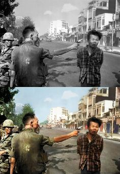 Viet Cong. The man being shot murdered women and children in civilian clothing while he was an officer in the NVA, not only did he murder people but tortured those he murdered, he also lead an assassin squad to do this.  No one should feel sorry for him because of the horrible things he did to his victims