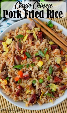 Pork fried rice is flavorful and comes together in 20 minutes. Perfect with my Chinese BBQ pork. You'll never get take out again! #takeout #chinesefood #friedrice