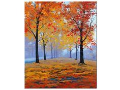 HERFST OLIEVERFSCHILDERIJ vallen bomen impressionisme Misty