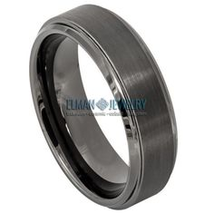 This Wedding Band Ring created from Cobalt Free Tungsten Carbide and made with Comfort Fit design. This ring is ideal as Contemporary Wedding Ring Band, Engagement Ring, Anniversary Band, Gift for His and Her or just for Everyday Wearing. It's a Gun Metal IP Plated Brushed Tungsten Ring Band with Brushed Center and High Polished Stepped Edge. The ring width is 6 mm.    Features:  - Scratch Resistant & Lifetime Guarantee  - Same business day Free Shipping  - Hypoallergenic & Bio-compatible … Anniversary Bands, Tungsten Carbide, In Writing, Wedding Ring Bands, Band Rings, Cobalt, Gun, Plating, Engagement Rings