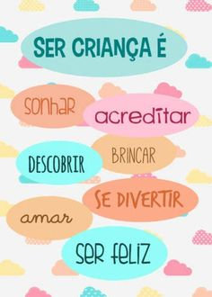 Dia da criança Instagram Marketing Tips, Child Day, Yoga For Kids, Just Kidding, Kids Education, Our Baby, Kids And Parenting, Lettering, Words